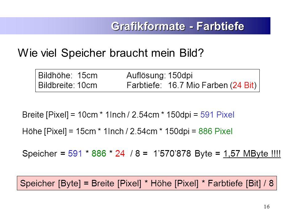 16 Grafikformate - Farbtiefe Wie viel Speicher braucht mein Bild? Speicher [Byte] = Breite [Pixel] * Höhe [Pixel] * Farbtiefe [Bit] / 8 Speicher = 591