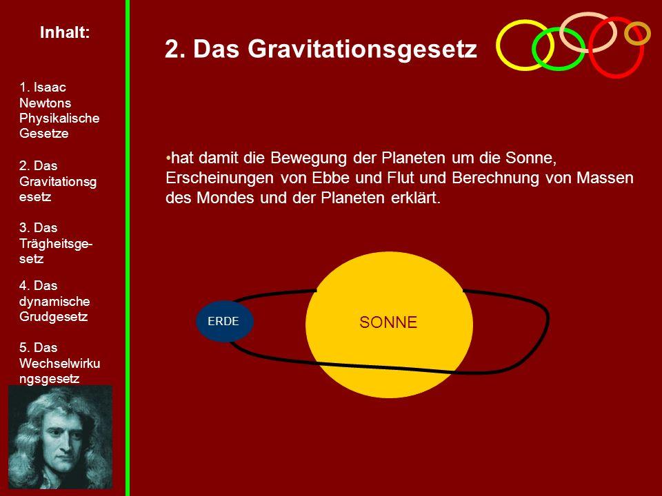 SONNE 2. Das Gravitationsgesetz hat damit die Bewegung der Planeten um die Sonne, Erscheinungen von Ebbe und Flut und Berechnung von Massen des Mondes