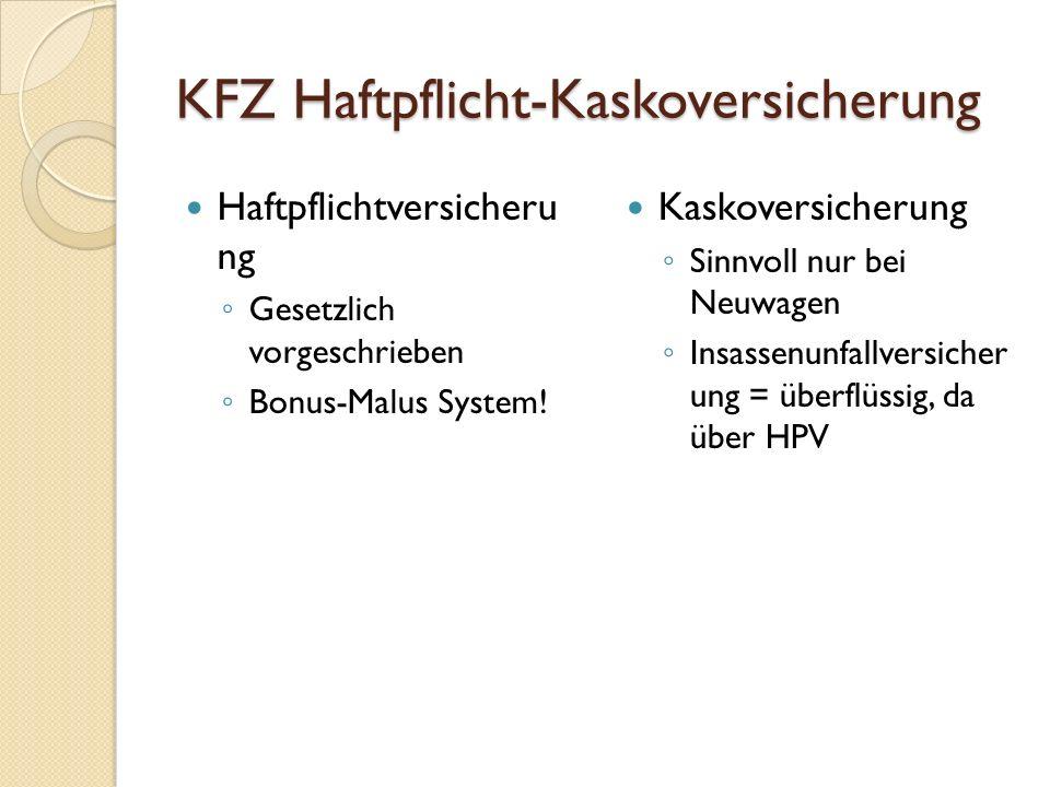 KFZ Haftpflicht-Kaskoversicherung Haftpflichtversicheru ng ◦ Gesetzlich vorgeschrieben ◦ Bonus-Malus System! Kaskoversicherung ◦ Sinnvoll nur bei Neuw