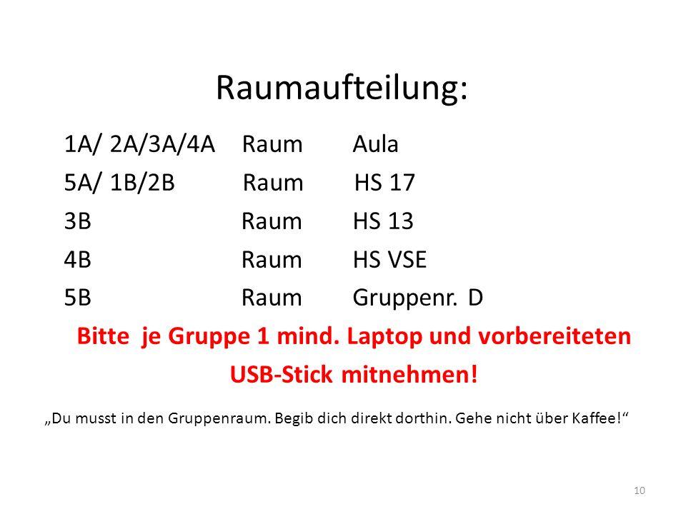 Raumaufteilung: 1A/ 2A/3A/4A Raum Aula 5A/ 1B/2B Raum HS 17 3B Raum HS 13 4B Raum HS VSE 5B Raum Gruppenr.