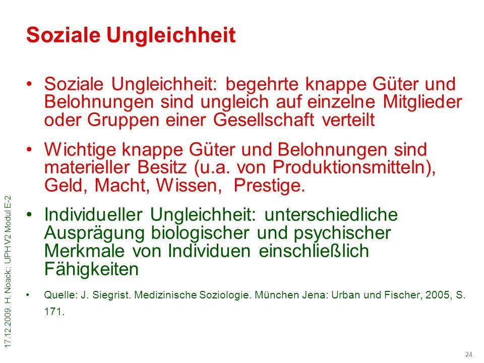 17.12.2009. H. Noack:: UPH V2 Modul E-2 24 Soziale Ungleichheit Soziale Ungleichheit: begehrte knappe Güter und Belohnungen sind ungleich auf einzelne