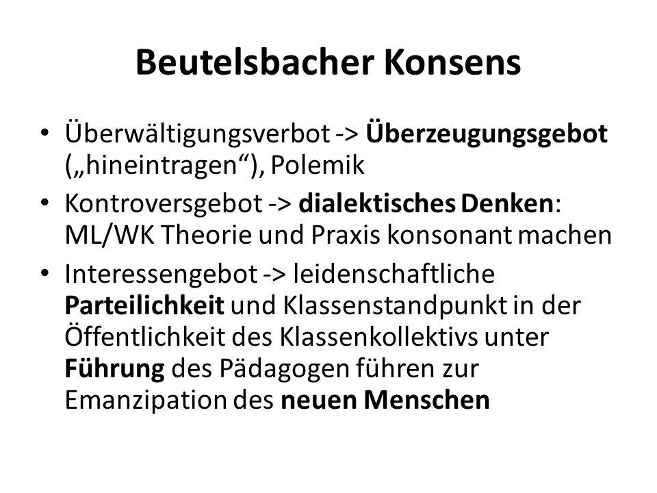 """Beutelsbacher Konsens Überwältigungsverbot -> Überzeugungsgebot (""""hineintragen""""), Polemik Kontroversgebot -> dialektisches Denken: ML/WK Theorie und P"""