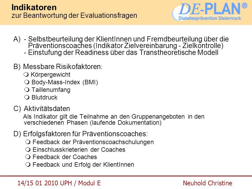 14/15 01 2010 UPH / Modul E Neuhold Christine Indikatoren zur Beantwortung der Evaluationsfragen A)- Selbstbeurteilung der KlientInnen und Fremdbeurte