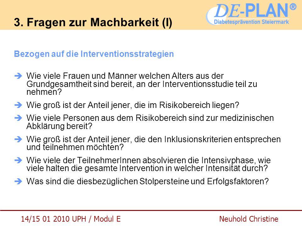 14/15 01 2010 UPH / Modul E Neuhold Christine 3. Fragen zur Machbarkeit (I) Bezogen auf die Interventionsstrategien  Wie viele Frauen und Männer welc