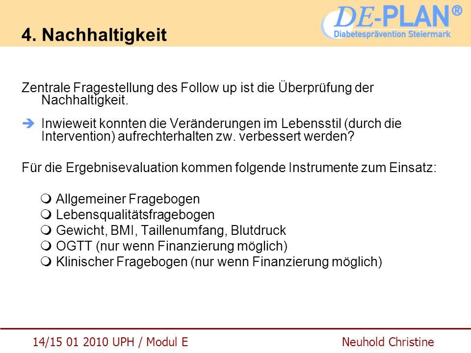 14/15 01 2010 UPH / Modul E Neuhold Christine 4. Nachhaltigkeit Zentrale Fragestellung des Follow up ist die Überprüfung der Nachhaltigkeit.  Inwiewe