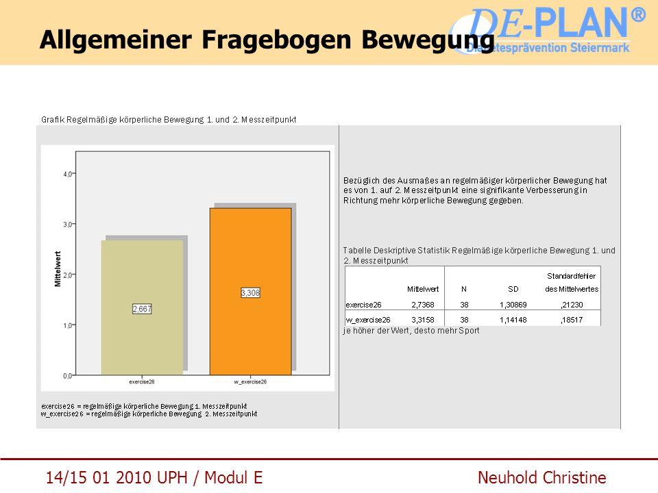 14/15 01 2010 UPH / Modul E Neuhold Christine Allgemeiner Fragebogen Bewegung