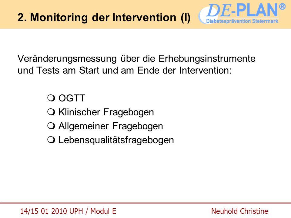 14/15 01 2010 UPH / Modul E Neuhold Christine 2. Monitoring der Intervention (I) Veränderungsmessung über die Erhebungsinstrumente und Tests am Start
