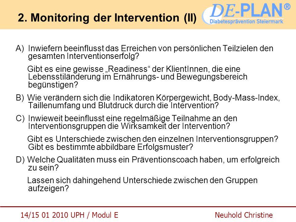 14/15 01 2010 UPH / Modul E Neuhold Christine 2. Monitoring der Intervention (II) A)Inwiefern beeinflusst das Erreichen von persönlichen Teilzielen de