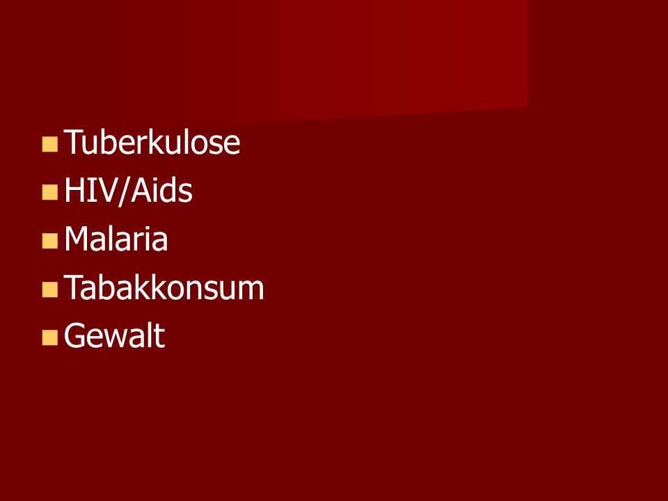 Tuberkulose HIV/Aids Malaria Tabakkonsum Gewalt