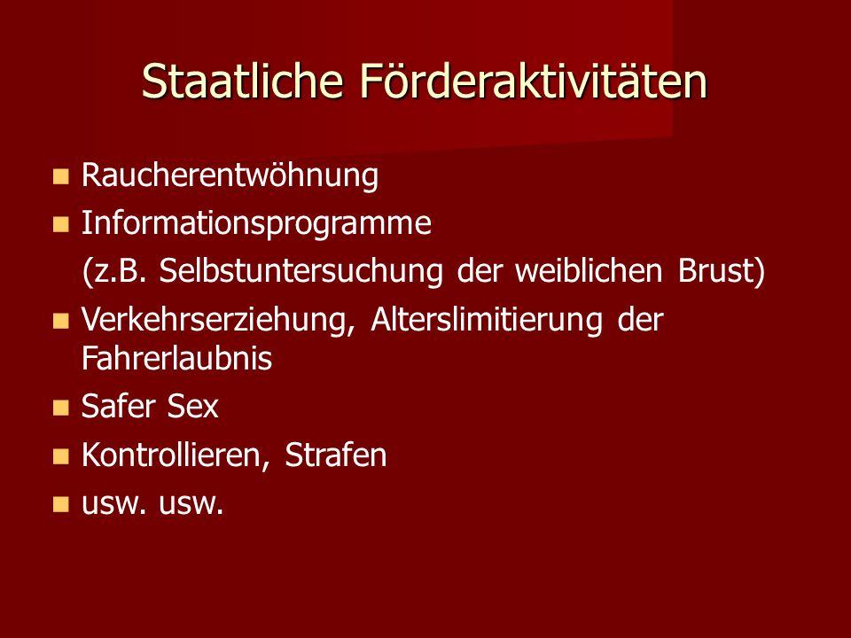Staatliche Förderaktivitäten Raucherentwöhnung Informationsprogramme (z.B. Selbstuntersuchung der weiblichen Brust) Verkehrserziehung, Alterslimitieru