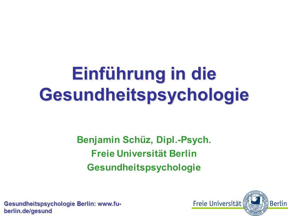 Gesundheitspsychologie Berlin: www.fu- berlin.de/gesund Persönlichkeit und Gesundheit: Metaanalyse von Booth-Kewley & Friedman (1987) Psychologisch e Variablen Anzahl von Studien Effektgröße r Typ A59,07 -,20 Ärger7,14 Feindseligkeit11,17 Aggression6,06 Depression11,23 Extraversion15,07 Ängstlichkeit14,14