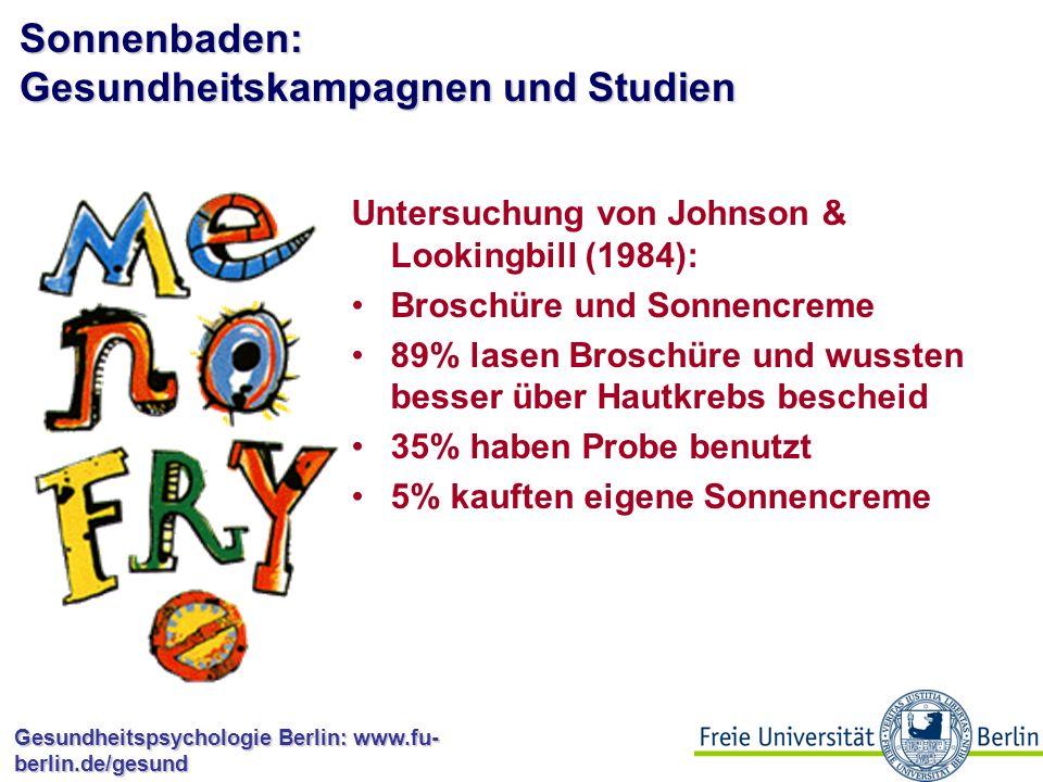 Gesundheitspsychologie Berlin: www.fu- berlin.de/gesund Gesundheitsverhaltensweisen: Sonnenbaden Sonnenbestrahlung begünstigt die Bildung von körpereigenem Vitamin D Steigerung des psychischen Wohlbefindens UV-Licht erhöht Risiko für Hautkrebserkrankungen (malignes Melanom) Steigende Inzidenzraten für Hautkrebs