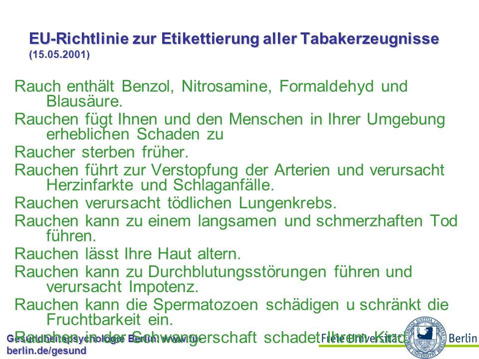 Gesundheitspsychologie Berlin: www.fu- berlin.de/gesund Sonnenbaden: Gesundheitskampagnen und Studien Untersuchung von Johnson & Lookingbill (1984): Broschüre und Sonnencreme 89% lasen Broschüre und wussten besser über Hautkrebs bescheid 35% haben Probe benutzt 5% kauften eigene Sonnencreme