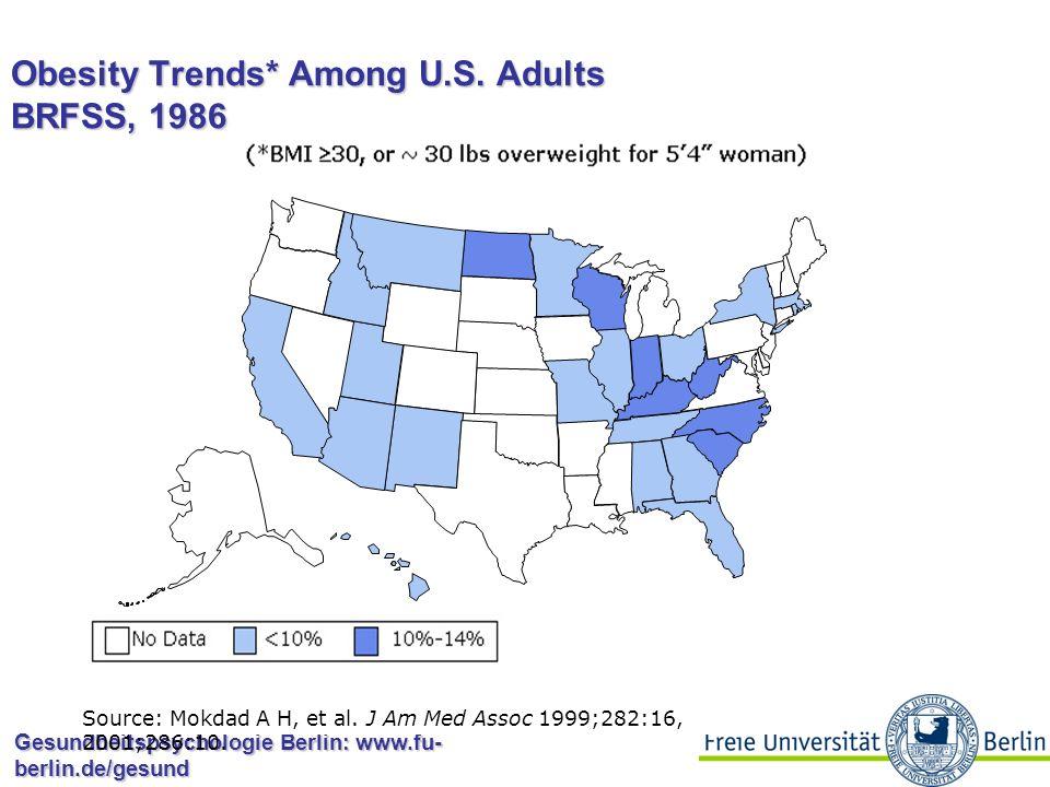Gesundheitspsychologie Berlin: www.fu- berlin.de/gesund Obesity Trends* Among U.S. Adults BRFSS, 1985 Source: Mokdad A H, et al. J Am Med Assoc 1999;2