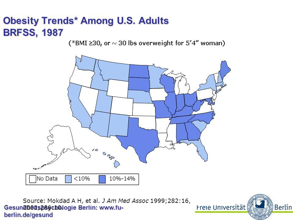 Gesundheitspsychologie Berlin: www.fu- berlin.de/gesund Obesity Trends* Among U.S. Adults BRFSS, 1986 Source: Mokdad A H, et al. J Am Med Assoc 1999;2
