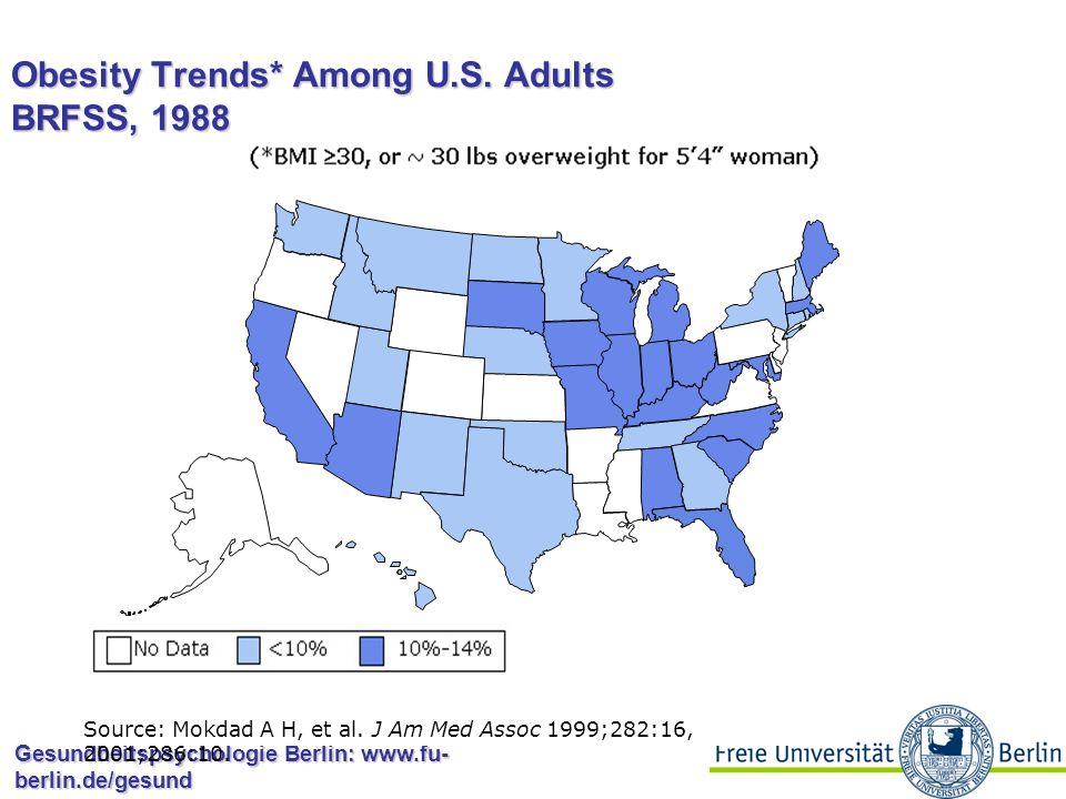Gesundheitspsychologie Berlin: www.fu- berlin.de/gesund Obesity Trends* Among U.S. Adults BRFSS, 1987 Source: Mokdad A H, et al. J Am Med Assoc 1999;2