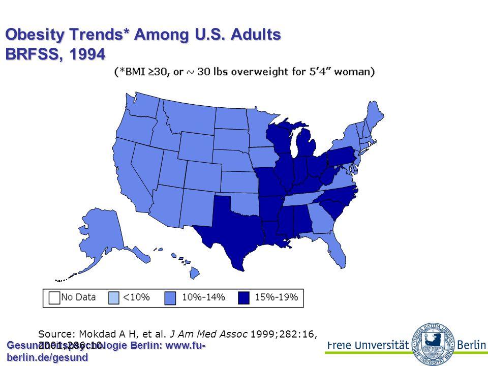 Gesundheitspsychologie Berlin: www.fu- berlin.de/gesund Obesity Trends* Among U.S. Adults BRFSS, 1993 Source: Mokdad A H, et al. J Am Med Assoc 1999;2