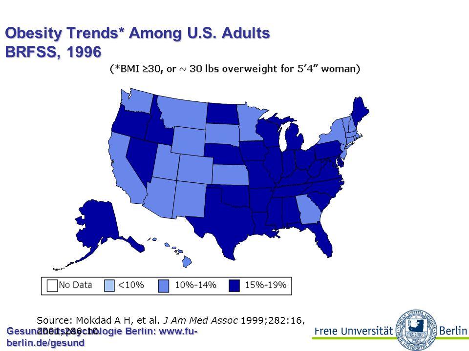 Gesundheitspsychologie Berlin: www.fu- berlin.de/gesund Obesity Trends* Among U.S. Adults BRFSS, 1995 Source: Mokdad A H, et al. J Am Med Assoc 1999;2