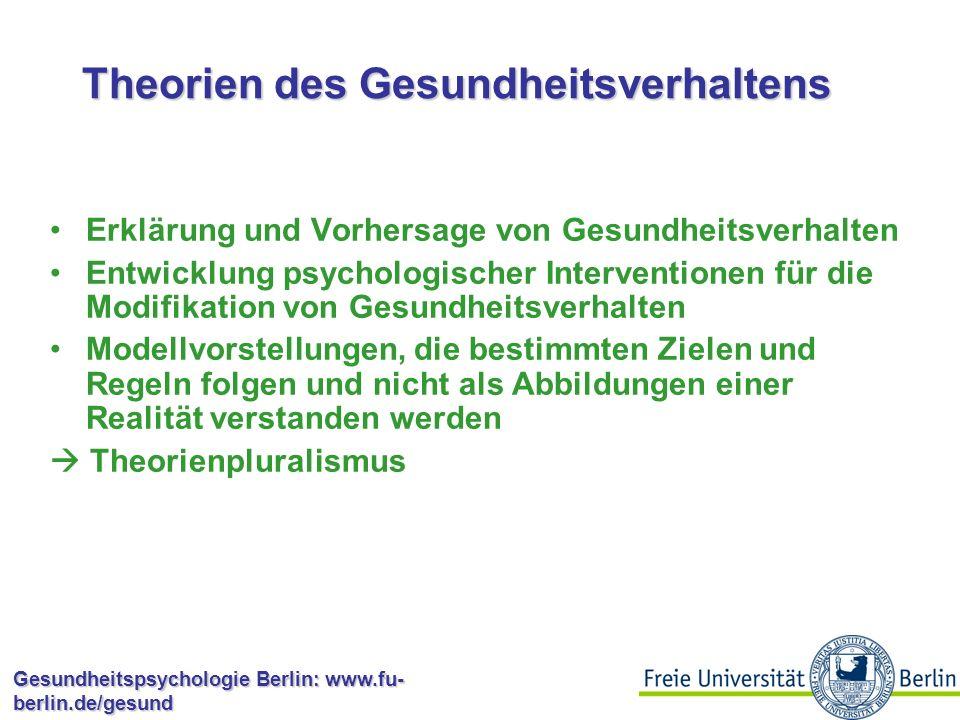 Gesundheitspsychologie Berlin: www.fu- berlin.de/gesund Warum macht es dann eigentlich nicht jeder?