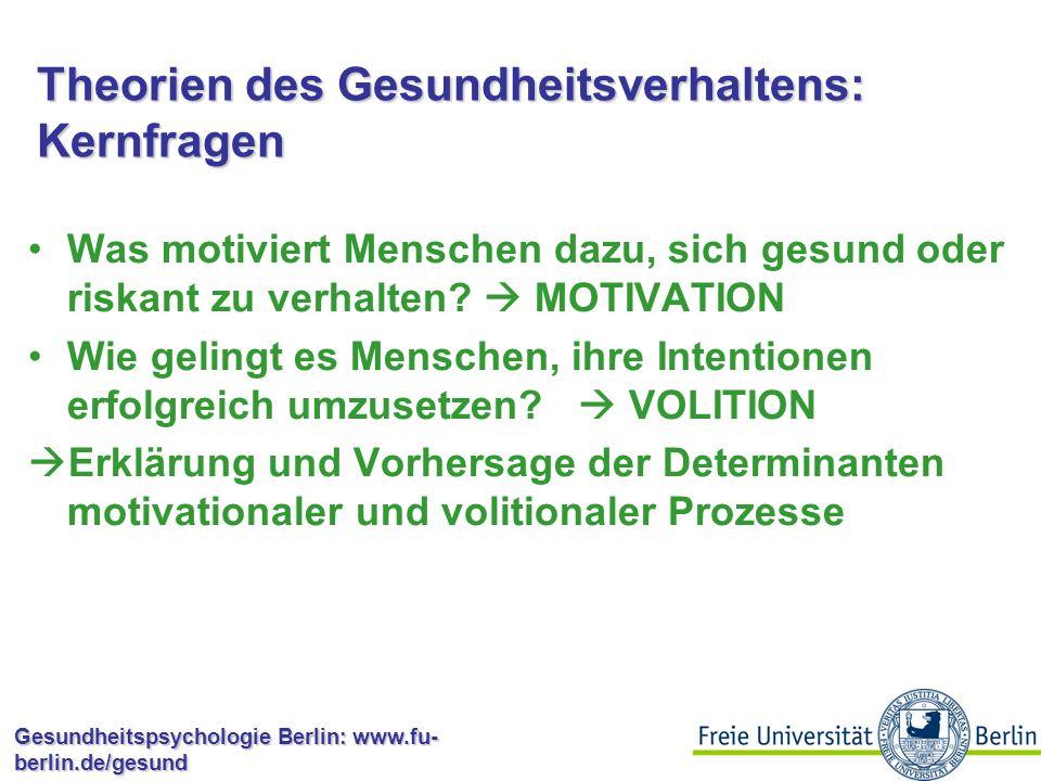 Gesundheitspsychologie Berlin: www.fu- berlin.de/gesund Theorien des Gesundheitsverhaltens Erklärung und Vorhersage von Gesundheitsverhalten Entwicklung psychologischer Interventionen für die Modifikation von Gesundheitsverhalten Modellvorstellungen, die bestimmten Zielen und Regeln folgen und nicht als Abbildungen einer Realität verstanden werden  Theorienpluralismus