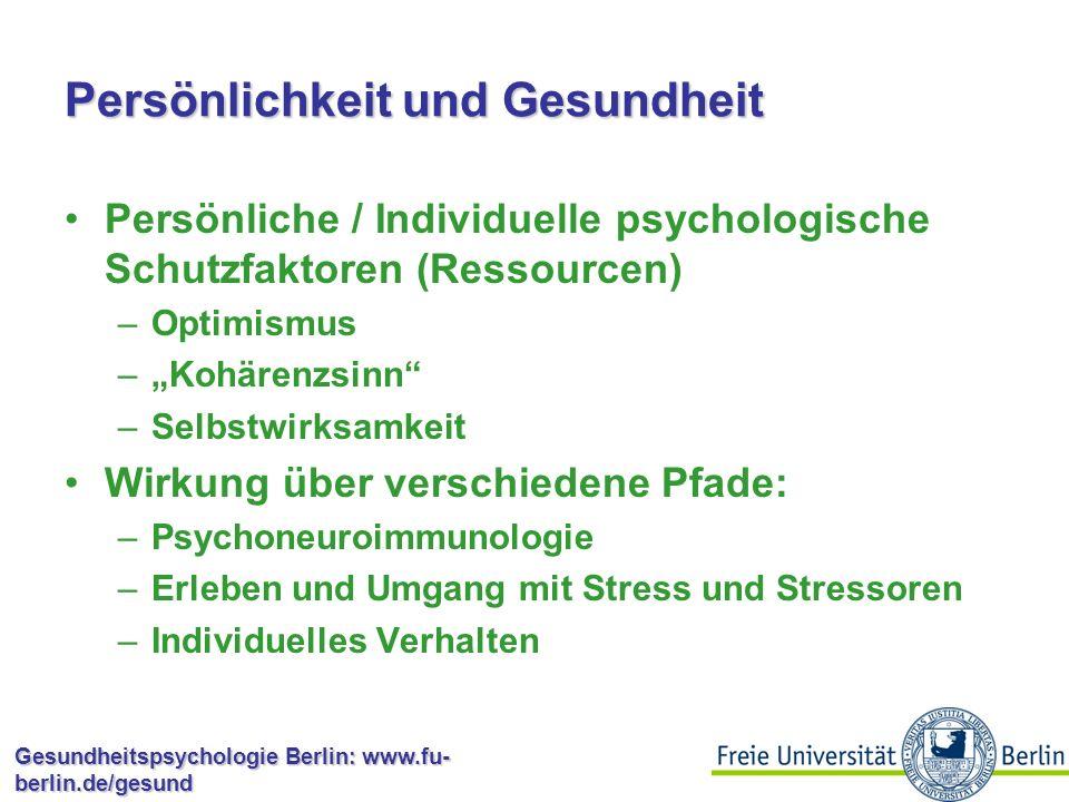 Gesundheitspsychologie Berlin: www.fu- berlin.de/gesund Ressourcen Materielle Ressourcen, die für Gesundheit und Krankheit relevant sind?