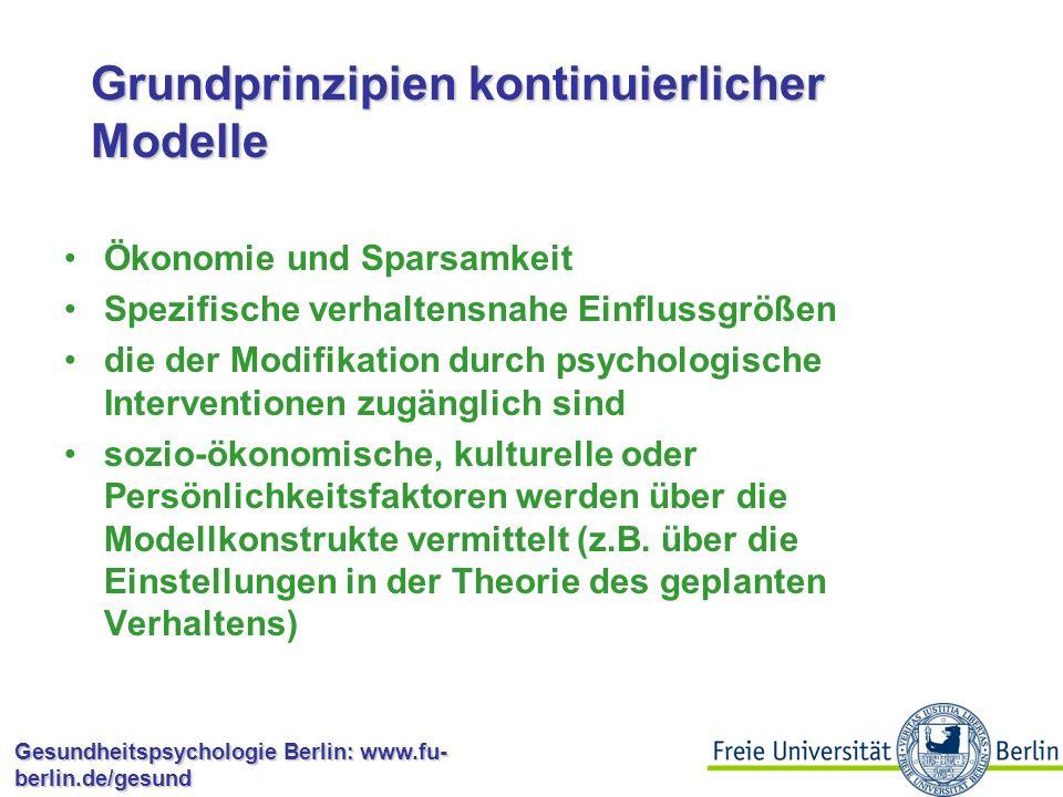 Gesundheitspsychologie Berlin: www.fu- berlin.de/gesund Kontinuierliche Modelle  spezifizieren bestimmte kognitive und affektive Variablen (z.B.