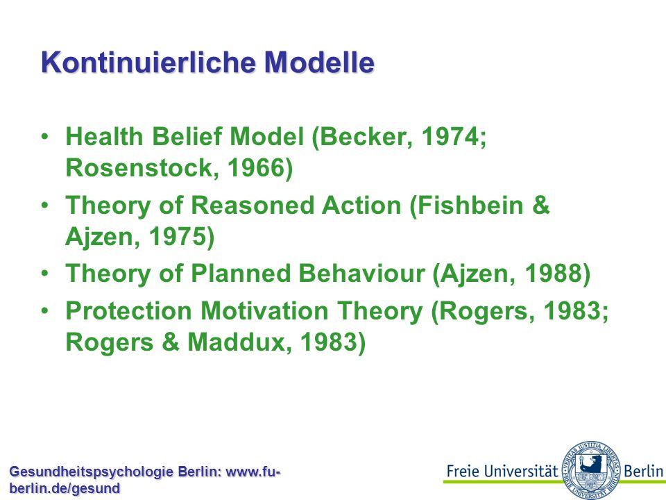 Gesundheitspsychologie Berlin: www.fu- berlin.de/gesund Kontinuierliche Modelle: Interventionen Interventionen haben in diesen Modellen die Aufgabe, Personen auf diesem Kontinuum in Richtung einer höheren Handlungswahrscheinlichkeit zu bewegen.