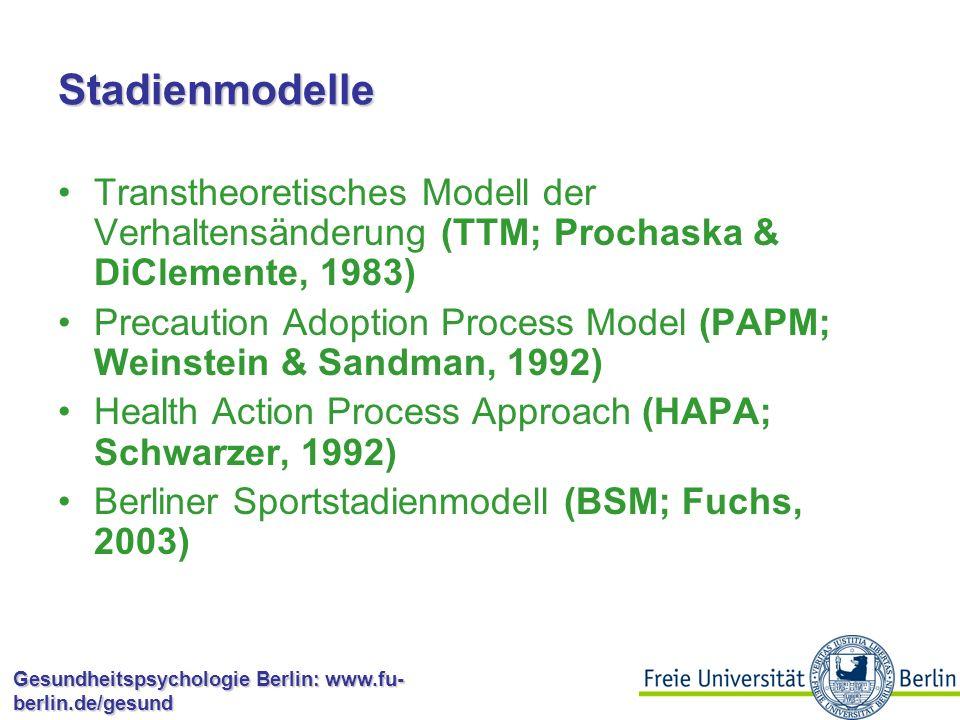 Gesundheitspsychologie Berlin: www.fu- berlin.de/gesund Stadienmodelle: Interventionen Für jede Stufe werden unterschiedliche psychologische Prozesse angenommen, welche auf jeweils phasentypische Weise von verschiedenen sozial-kognitiven Einflussgrößen beeinflusst sind Personen in unterschiedlichen Stufen können demnach von unterschiedlichen Interventionen profitieren.
