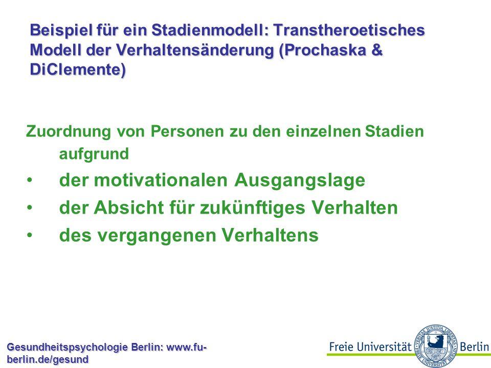 Gesundheitspsychologie Berlin: www.fu- berlin.de/gesund Stadienmodelle Transtheoretisches Modell der Verhaltensänderung (TTM; Prochaska & DiClemente, 1983) Precaution Adoption Process Model (PAPM; Weinstein & Sandman, 1992) Health Action Process Approach (HAPA; Schwarzer, 1992) Berliner Sportstadienmodell (BSM; Fuchs, 2003)