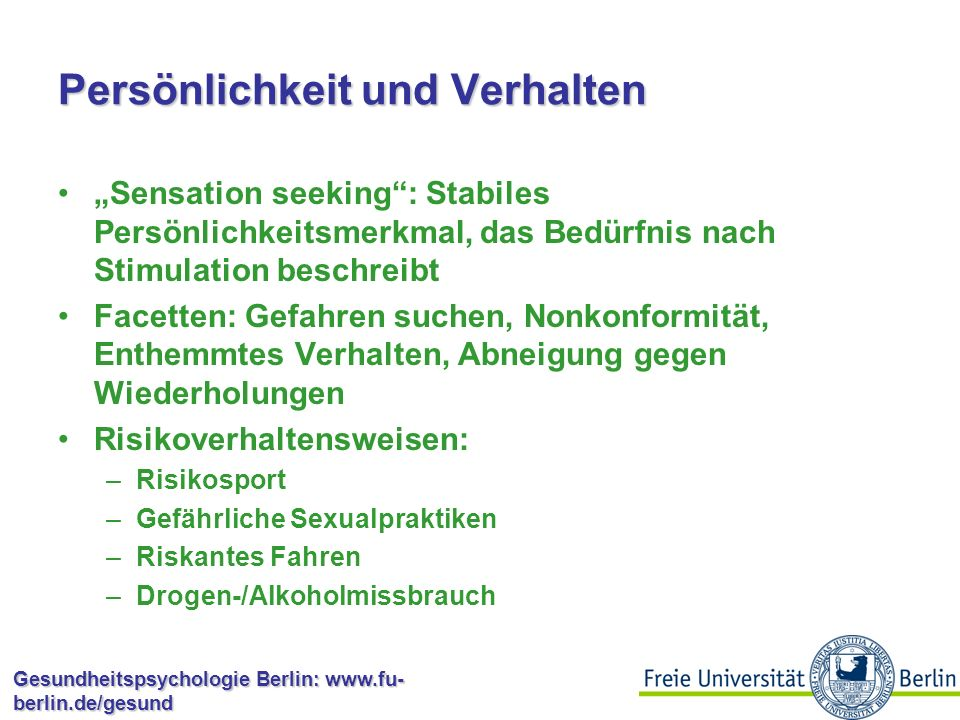 """Gesundheitspsychologie Berlin: www.fu- berlin.de/gesund Optimismus: Einflussmöglichkeiten Scheier et al.: Optimismus beeinflusst den Umgang mit der negativen Situation und die Auswahl von Strategien, die Situation zu bewältigen """"Pessimisten brauchen demnach Nachhilfe bei der Bewertung von Situationen Problem: Das klappt meist nicht, diese Patienten weisen oft Hilfe zurück Wie kann Optimismus beeinflusst werden?"""