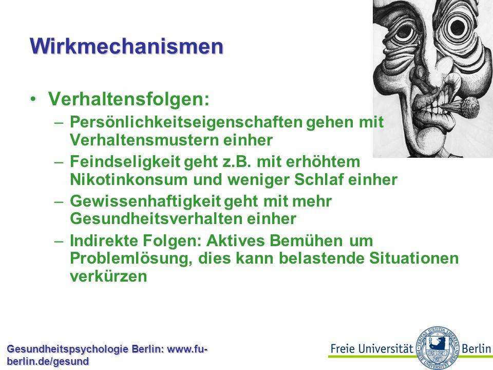 Gesundheitspsychologie Berlin: www.fu- berlin.de/gesund Wirkmechanismen Physiologische Reaktionen –Persönlichkeitseigenschaften können mit gesundheitsrelevanten physiologischen Reaktionen einhergehen –Optimisten schätzen z.B.