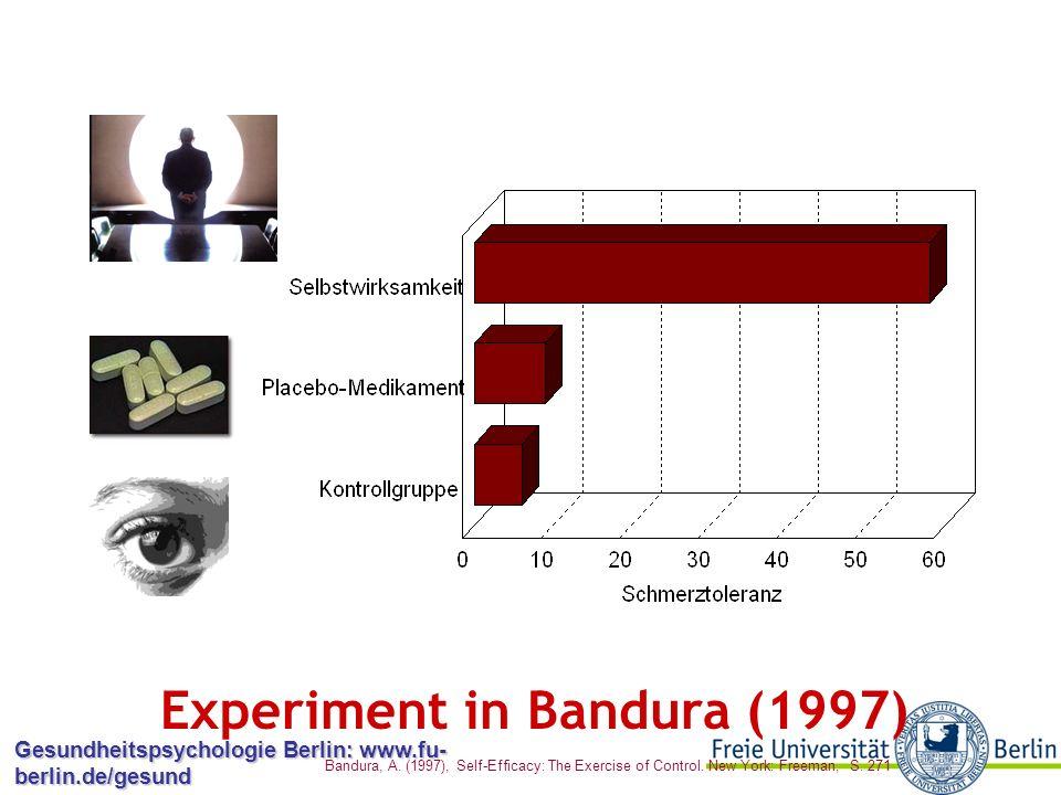 Gesundheitspsychologie Berlin: www.fu- berlin.de/gesund Experiment von Litt (1988) Zweite experimentelle Phase: Umkehren der simulierten Rückmeldung  Wieder Effekte in der Richtung, dass höhere SWE höhere Schmerztoleranz bedingt  SWE hat so sogar frühere Erfahrung mit dem Verhalten als Prädiktor übertroffen