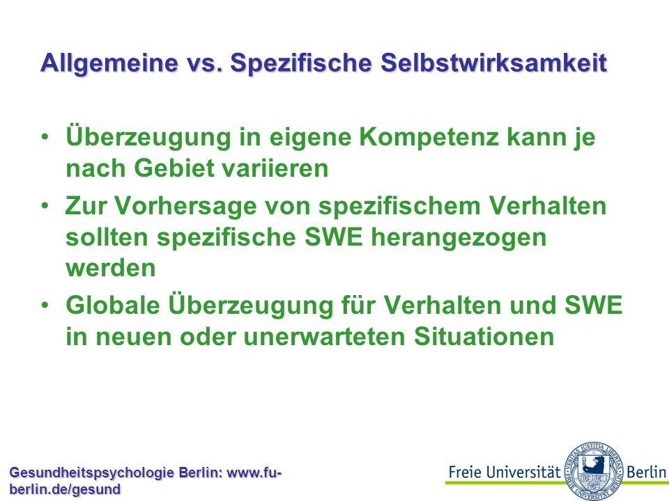 Gesundheitspsychologie Berlin: www.fu- berlin.de/gesund Selbstwirksamkeitserwartung