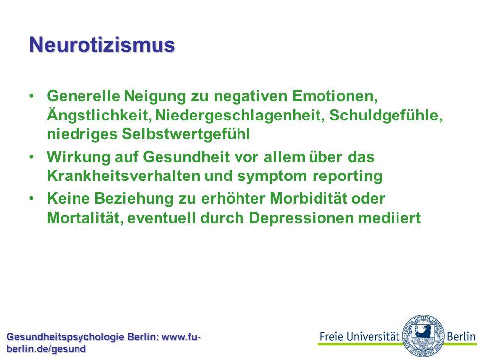Gesundheitspsychologie Berlin: www.fu- berlin.de/gesund Allgemeine Selbstwirksamkeit Wenn sich Widerstände auftun, finde ich Mittel und Wege, mich durchzusetzen.