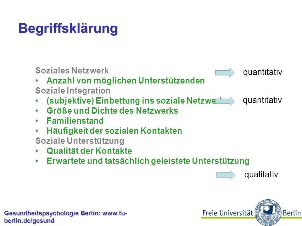 Gesundheitspsychologie Berlin: www.fu- berlin.de/gesund Soziale Unterstützung Effekte sozialer Unterstützung: Schnellere Wiederaufnahme von Aktivitäten nach OP