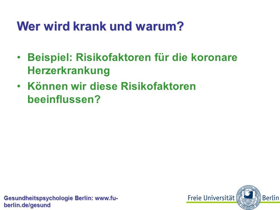 Gesundheitspsychologie Berlin: www.fu- berlin.de/gesund Optimismus Allgemeine Erfolgserwartungen, un- abhängig von spezifischen Bereichen Annahme, dass es sich dabei um ein stabiles Merkmal der Persönlichkeit handelt Personen unterscheiden sich in der Ausprägung in unterschiedlichen Bereichen Verschiedene Möglichkeiten zur Messung; z.B.
