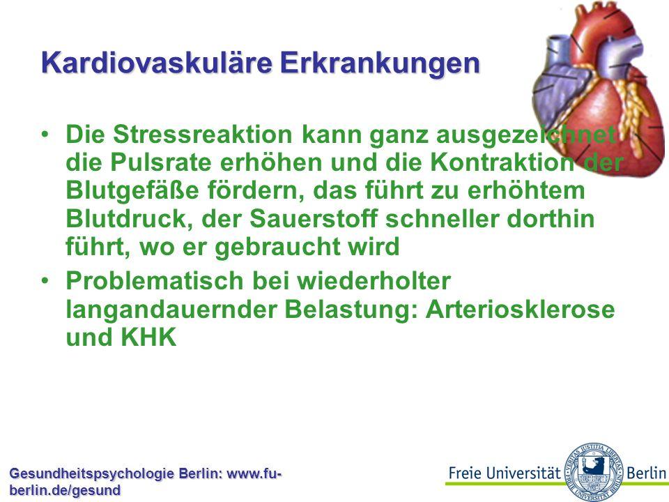 Gesundheitspsychologie Berlin: www.fu- berlin.de/gesund Muskelschwund und Fatigue Stress mobilisiert gespeicherte Energiereserven (Glukose) Bei wiederholter starker Aktivierung beginnt der Organismus, Energie zu sparen Corticosteroide und Glucagon sorgen dafür, dass der Körper aus Protein Glukose synthetisiert  braucht die eigenen Proteine auf