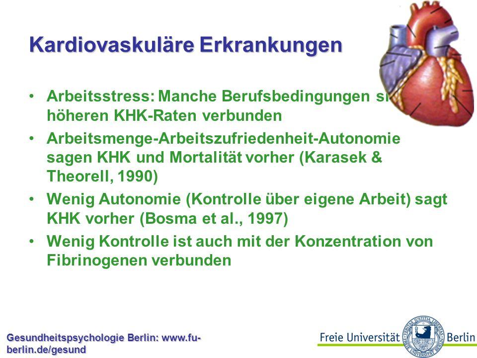 Gesundheitspsychologie Berlin: www.fu- berlin.de/gesund Kardiovaskuläre Erkrankungen Die Stressreaktion kann ganz ausgezeichnet die Pulsrate erhöhen und die Kontraktion der Blutgefäße fördern, das führt zu erhöhtem Blutdruck, der Sauerstoff schneller dorthin führt, wo er gebraucht wird Problematisch bei wiederholter langandauernder Belastung: Arteriosklerose und KHK
