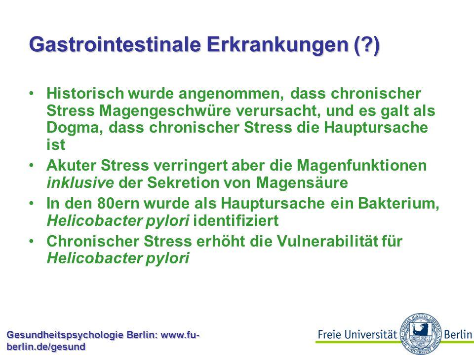 Gesundheitspsychologie Berlin: www.fu- berlin.de/gesund Kardiovaskuläre Erkrankungen Arbeitsstress: Manche Berufsbedingungen sind mit höheren KHK-Raten verbunden Arbeitsmenge-Arbeitszufriedenheit-Autonomie sagen KHK und Mortalität vorher (Karasek & Theorell, 1990) Wenig Autonomie (Kontrolle über eigene Arbeit) sagt KHK vorher (Bosma et al., 1997) Wenig Kontrolle ist auch mit der Konzentration von Fibrinogenen verbunden