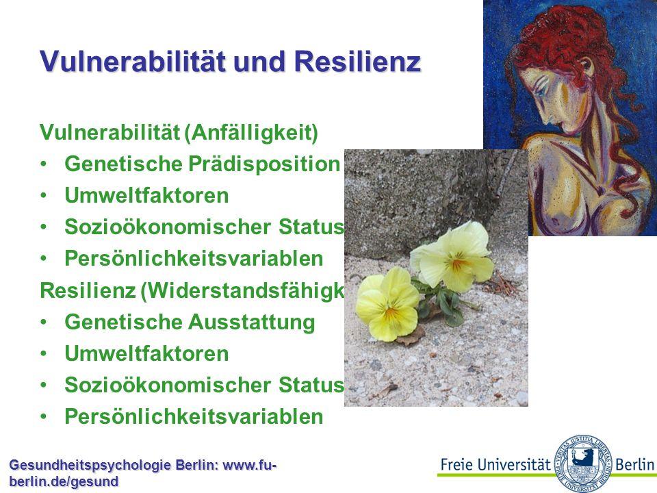 Gesundheitspsychologie Berlin: www.fu- berlin.de/gesund Vulnerabilität und Resilienz Vulnerabilität (Anfälligkeit) Genetische Prädisposition Umweltfaktoren Sozioökonomischer Status Persönlichkeitsvariablen Resilienz (Widerstandsfähigkeit) Genetische Ausstattung Umweltfaktoren Sozioökonomischer Status Persönlichkeitsvariablen