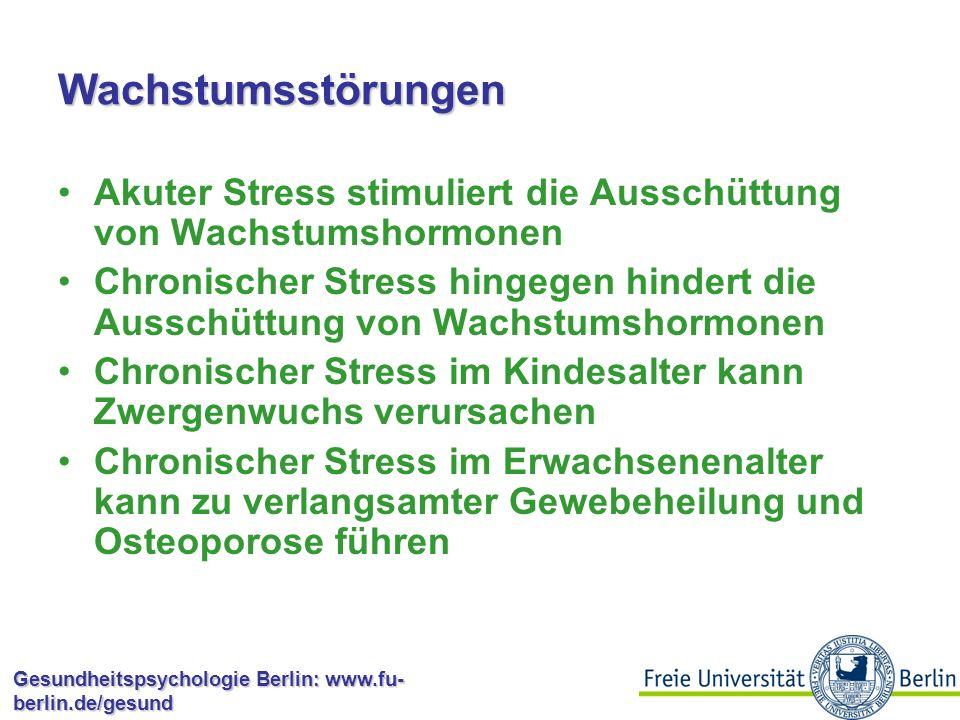 Gesundheitspsychologie Berlin: www.fu- berlin.de/gesund Gastrointestinale Erkrankungen (?) Historisch wurde angenommen, dass chronischer Stress Magengeschwüre verursacht, und es galt als Dogma, dass chronischer Stress die Hauptursache ist Akuter Stress verringert aber die Magenfunktionen inklusive der Sekretion von Magensäure In den 80ern wurde als Hauptursache ein Bakterium, Helicobacter pylori identifiziert Chronischer Stress erhöht die Vulnerabilität für Helicobacter pylori