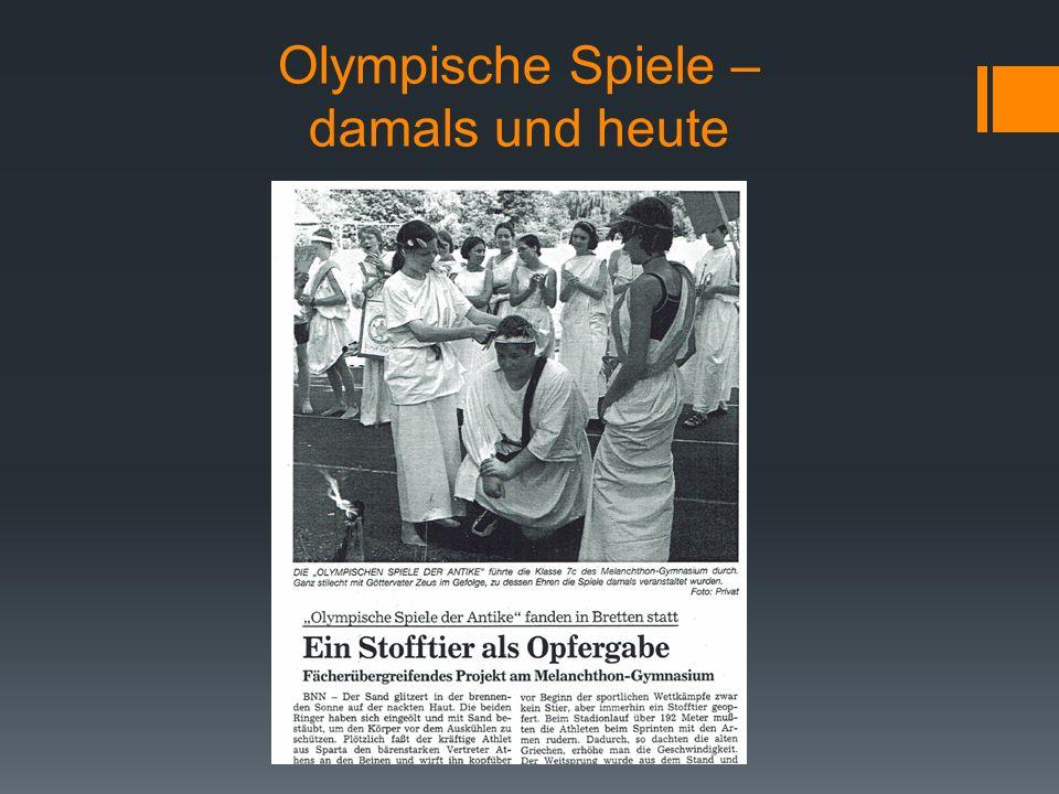 Olympische Spiele – damals und heute