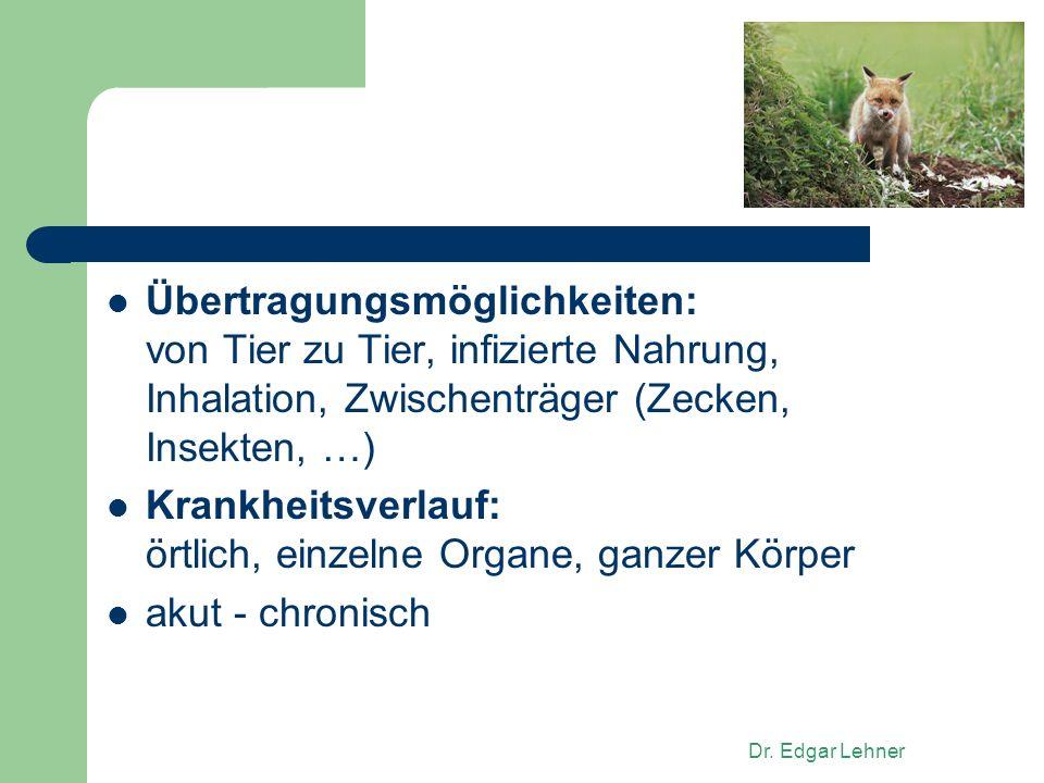 Dr. Edgar Lehner Übertragungsmöglichkeiten: von Tier zu Tier, infizierte Nahrung, Inhalation, Zwischenträger (Zecken, Insekten, …) Krankheitsverlauf: