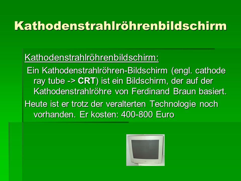 Kathodenstrahlröhrenbildschirm Kathodenstrahlröhrenbildschirm: Ein Kathodenstrahlröhren-Bildschirm (engl.