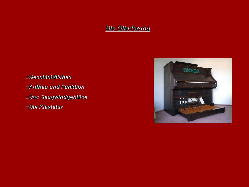 Die Gliederung  Geschichtliches  Aufbau und Funktion  Das Saugwindgebläse  Die Klaviatur