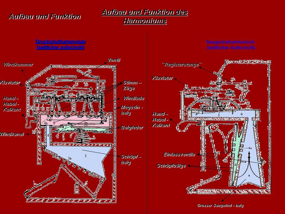 Druckwindharmonium (seitlicher aufschnitt) Saugwindharmonium (seitlicher Aufschnitt) Aufbau und Funktion des Harmoniums Balgfeder Windkanal Windkammer