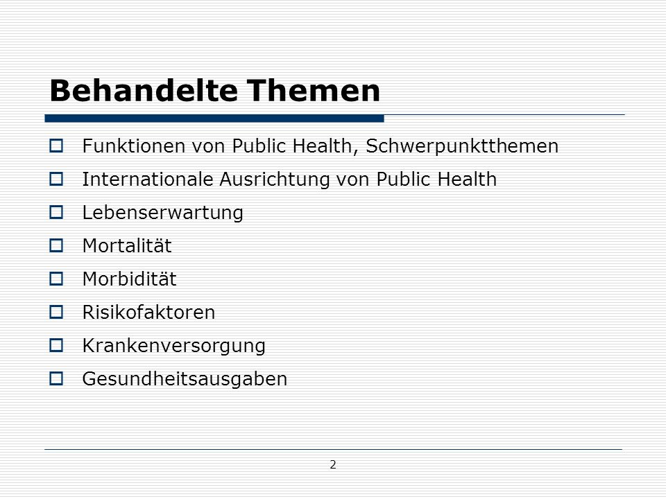 43 Subjektiver Gesundheitszustand Österreich - Gesundheitsbefragung  75,5% der ÖsterreicherInnen sind mit ihrem allgemeinen Gesundheitszustand zufrieden (sehr gut oder gut)  6% schlecht oder sehr schlecht  Frauen stufen ihre Gesundheit im Vergleich zu Männern tendenziell als schlechter ein  Positiver Trend beim subjektiv empfundenen Gesundheitszustand im zeitlichen Vergleich  Wichtige Erhebung: Gesundheitsbefragung  Einflussfaktoren Z.B.