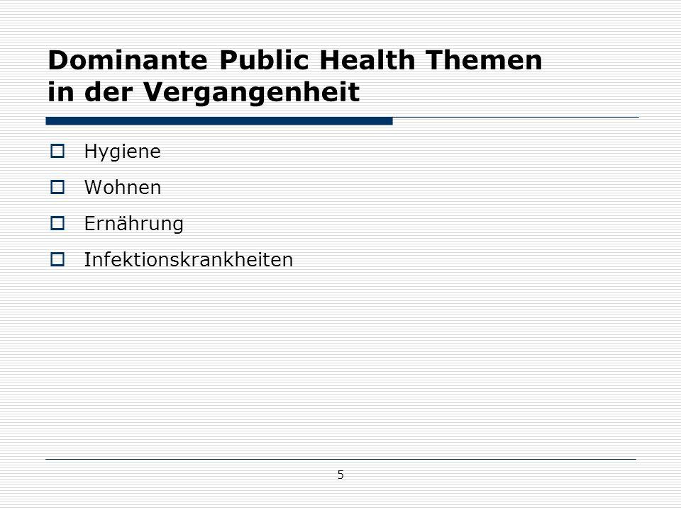 5 Dominante Public Health Themen in der Vergangenheit  Hygiene  Wohnen  Ernährung  Infektionskrankheiten