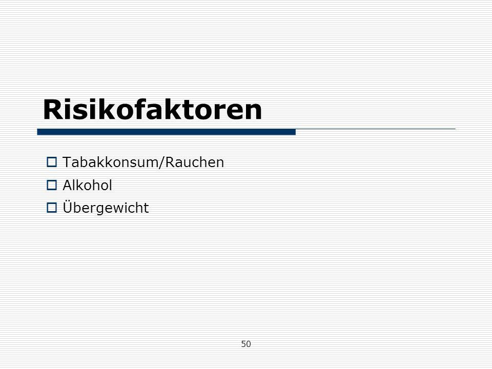 50 Risikofaktoren  Tabakkonsum/Rauchen  Alkohol  Übergewicht