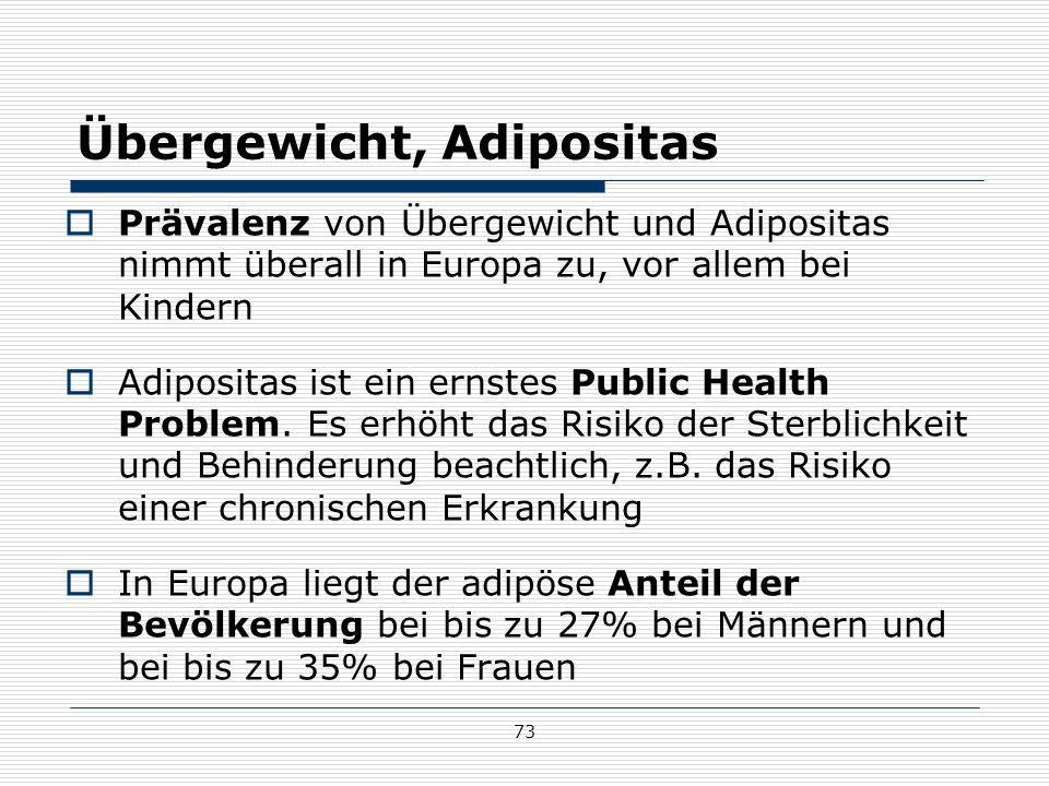 73 Übergewicht, Adipositas  Prävalenz von Übergewicht und Adipositas nimmt überall in Europa zu, vor allem bei Kindern  Adipositas ist ein ernstes Public Health Problem.
